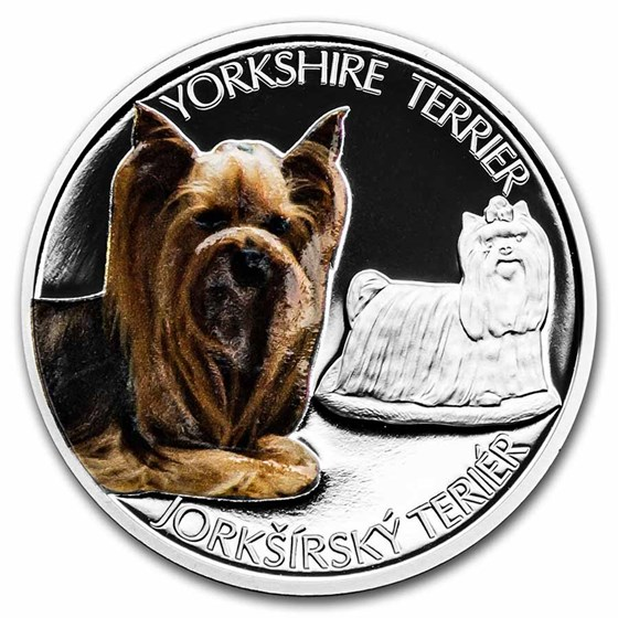 2021 Niue 1 oz Silver Proof Dog Breeds: Yorkshire Terrier