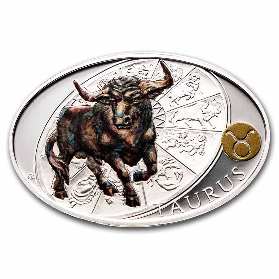 2021 Niue 1 oz Silver Proof Signs of Zodiac: Taurus