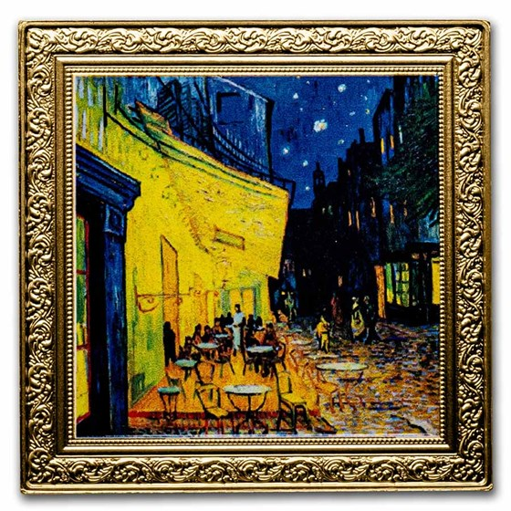 2021 Niue 1 oz Silver Vincent van Gogh: Café Terrace At Night Prf