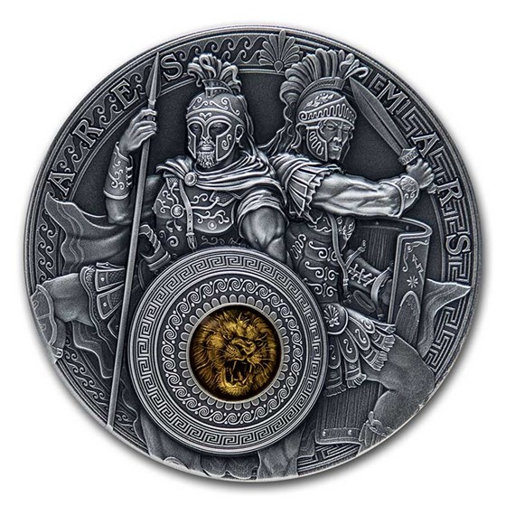 2021 Niue 2 oz Antique Silver Ares and Mars