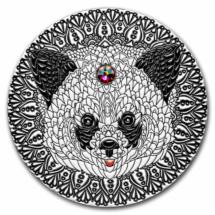2021 Niue 2 oz Antique Silver Mandala Collection: Panda