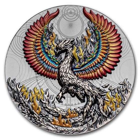 2021 Niue 2 oz Antique Silver Phoenix
