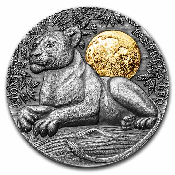 2021 Niue 2 oz Antique Silver Wildlife In the Moonlight: Lioness