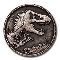 2021 Niue 2 oz Silver $5 Jurassic World Antiqued High Relief Coin