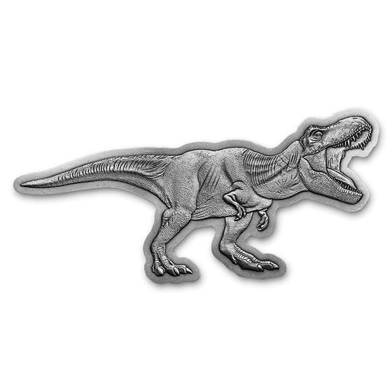 2021 Niue 2 oz Silver $5 Jurassic World T-Rex Shaped Antique Coin