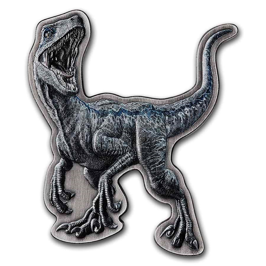 2021 Niue 2 oz Silver $5 Jurassic World Velociraptor Shaped Coin