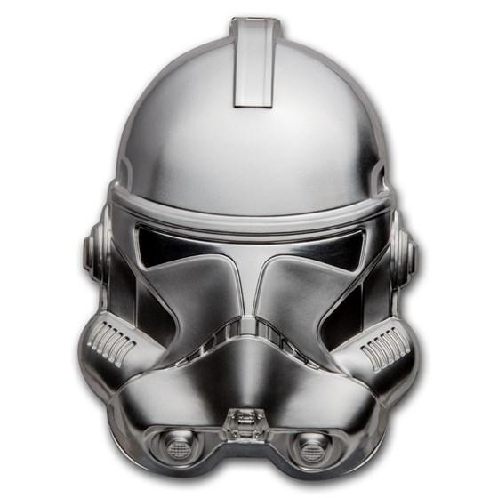 2021 Niue 2 oz Silver $5 Star Wars Clone Trooper Helmet UHR