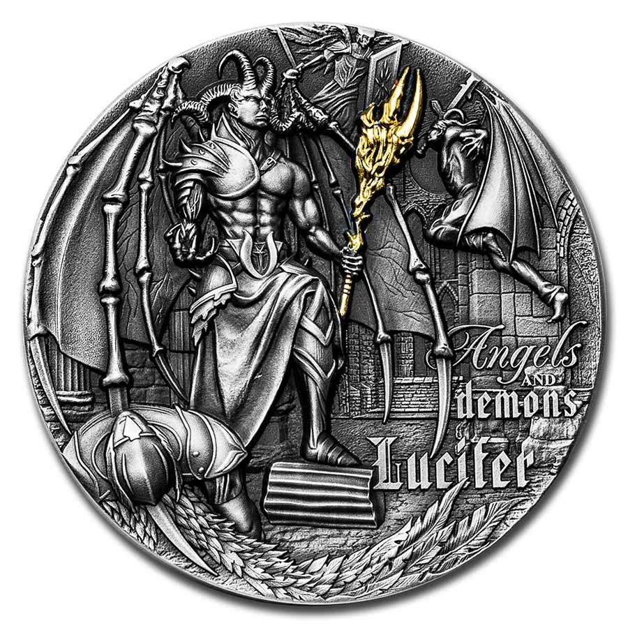 2021 Niue 2 oz Silver Antique Angels & Demons: Lucifer