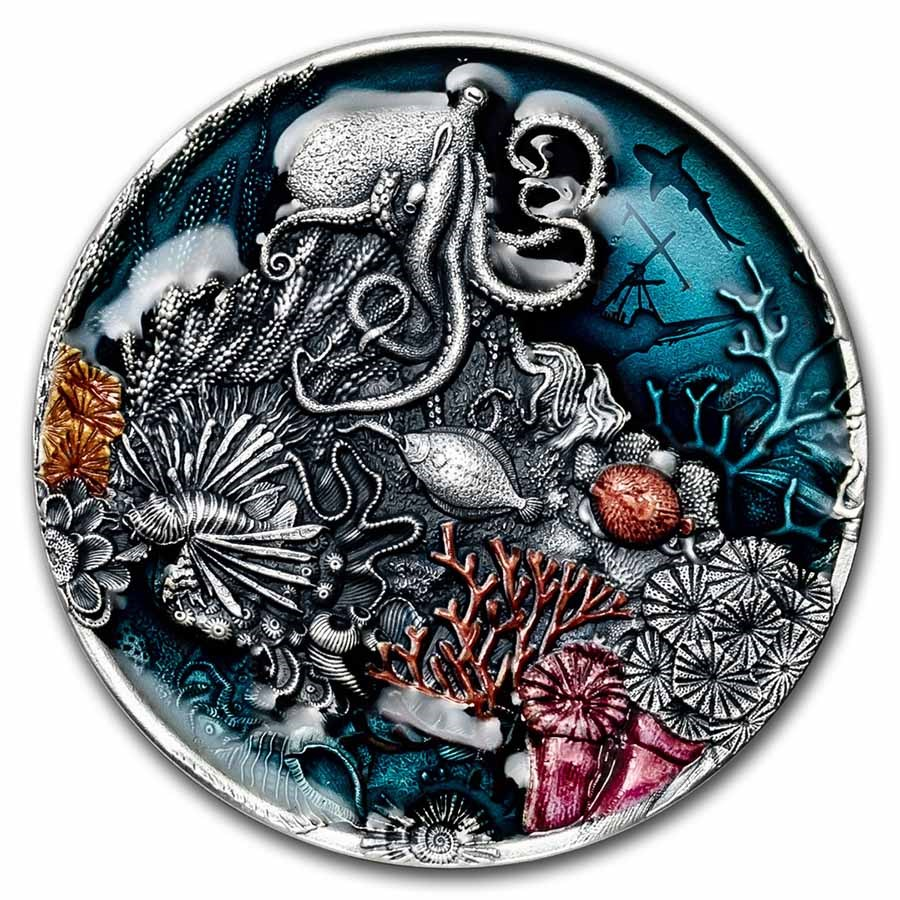 2021 Niue 2 oz Silver Antique Coral Reef