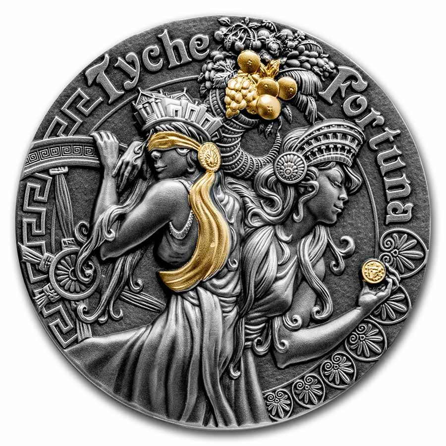 2021 Niue 2 oz Silver Antique Goddesses (Fortuna & Tyche)