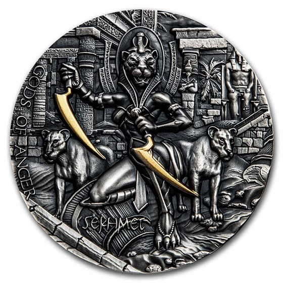 2021 Niue 2 oz Silver Antique Gods of Anger (Sekhmet)