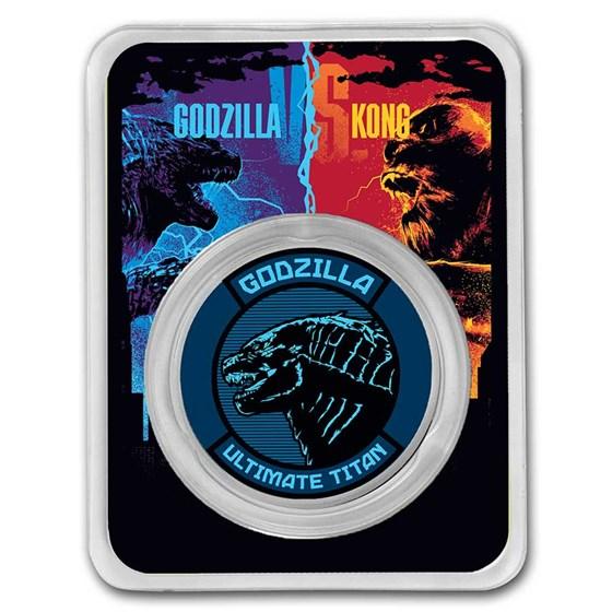 2021 Niue Colorized 1 oz Silver $2 Godzilla Coin (w/TEP)