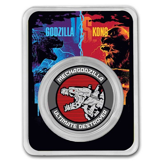 2021 Niue Colorized 1 oz Silver $2 Mechagodzilla Coin (w/ TEP)