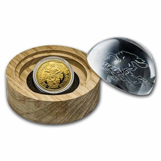 2021 NL 1 oz Gold Proof Lion Dollar (w/Bamboo & Glass Dome)