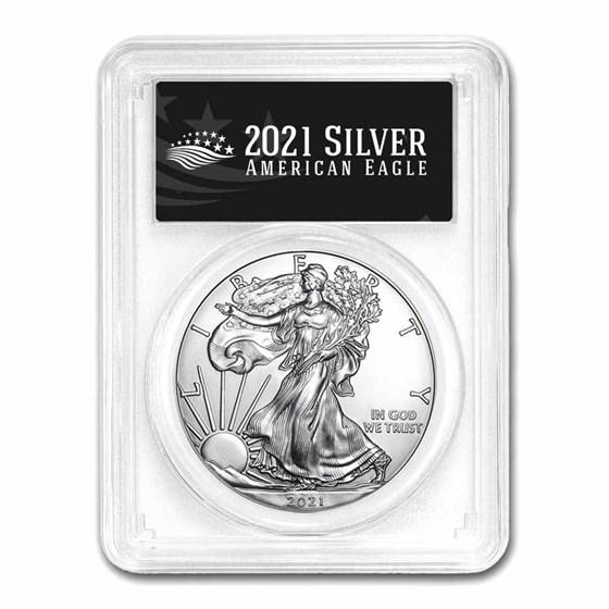 2021 (P) American Silver Eagle MS-69 PCGS (FDI, Black Label)