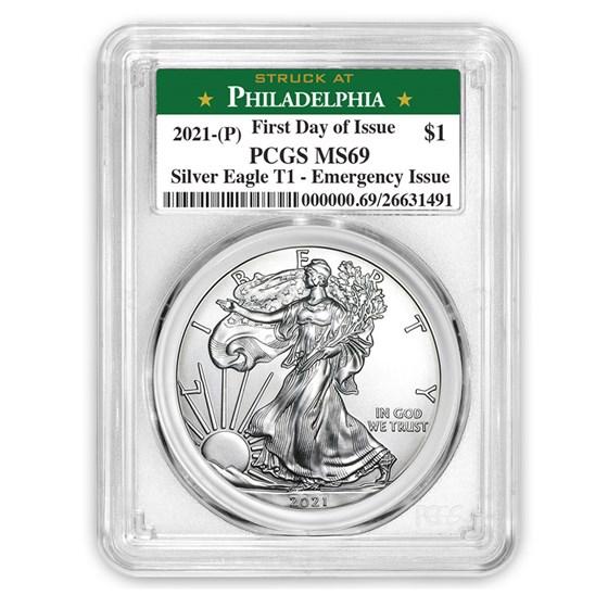 2021 (P) American Silver Eagle MS-69 PCGS (FDI, Philadelphia)
