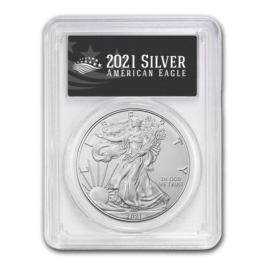 2021 (P) American Silver Eagle MS-70 PCGS (FDI, Black Label)