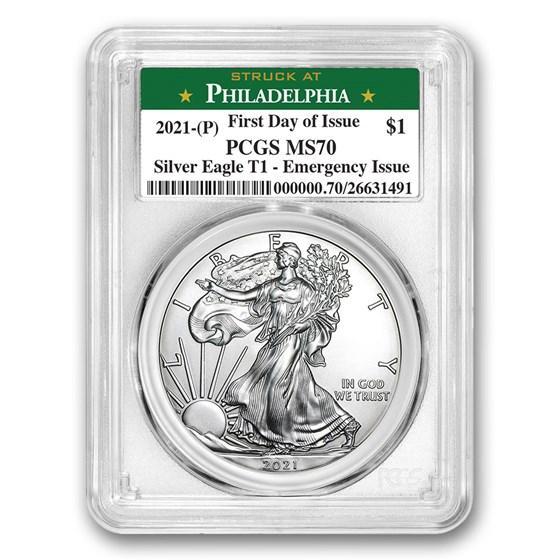 2021 (P) American Silver Eagle MS-70 PCGS (FDI, Philadelphia)