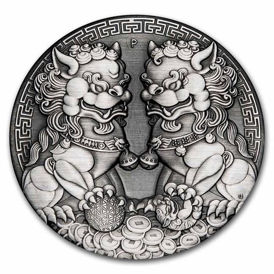 2021-P AUS 2 oz Silver Double Pixiu Antiqued (HR, w/Box & COA)