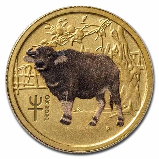 2021-P Australia 1/10 oz Gold Lunar Ox BU (Series III, Colorized)
