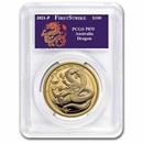 2021-P Australia 1 oz Gold Dragon COA #9 PR-70 PCGS (FS)