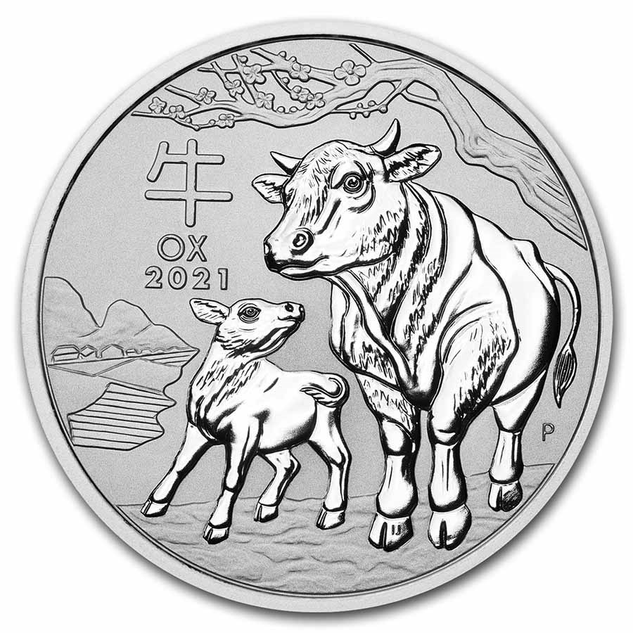 2021-P Australia 10 kilo Silver Lunar Ox BU (Series III)