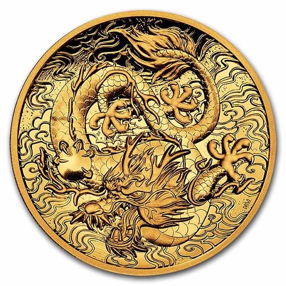 2021-P Australia 2 oz Gold Proof High Relief Dragon