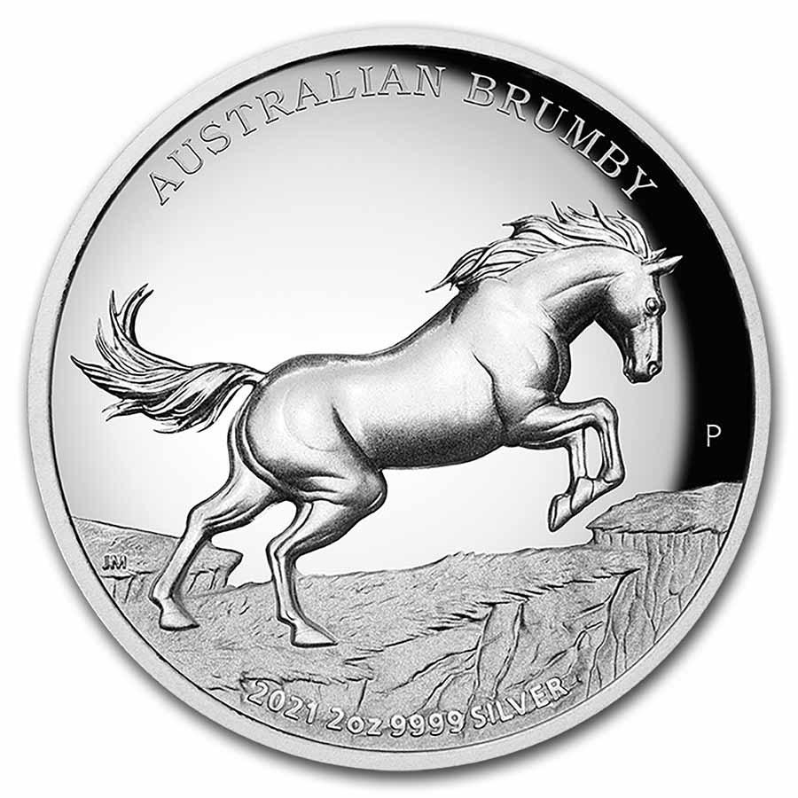 2021-P Australia 2 oz Silver Australian Brumby Proof
