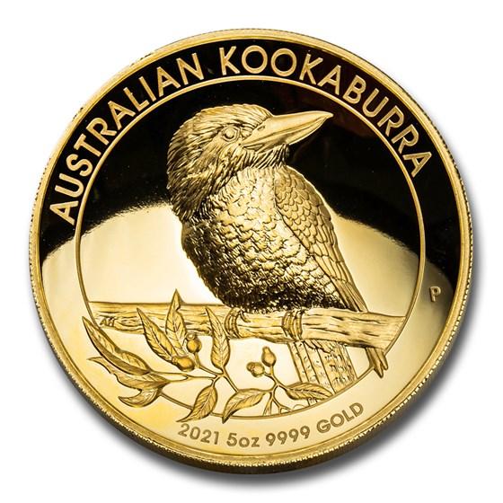 2021-P Australia 5 oz Gold Kookaburra Proof