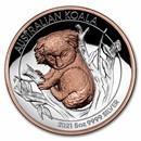 2021-P Australia 5 oz Silver Gilded Koala Proof (High Relief)
