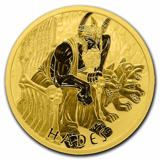 2021-P Tuvalu 1 oz Gold Gods of Olympus BU (Hades)