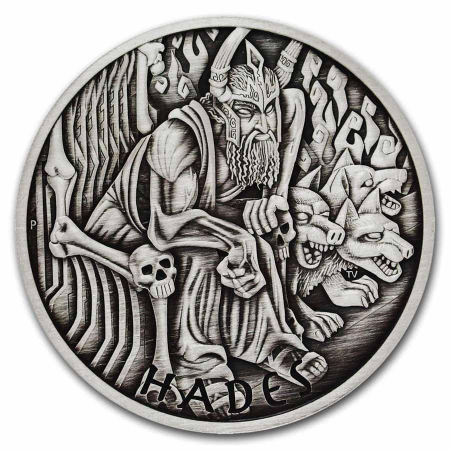 2021-P Tuvalu 1 oz Silver Antiqued Gods of Olympus (Hades)