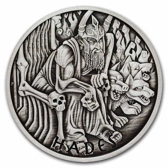 2021-P Tuvalu 5 oz Silver Antiqued Gods of Olympus (Hades)