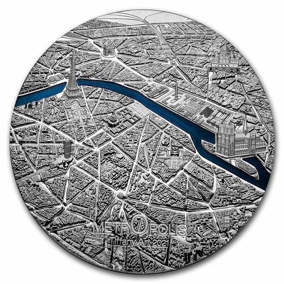 2021 Palau 1 kilo Silver Tiffany Art Metropolis: Paris