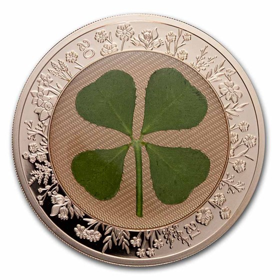 2021 Palau 1 oz Silver $5 Four-Leaf Clover Ounce of Luck Proof