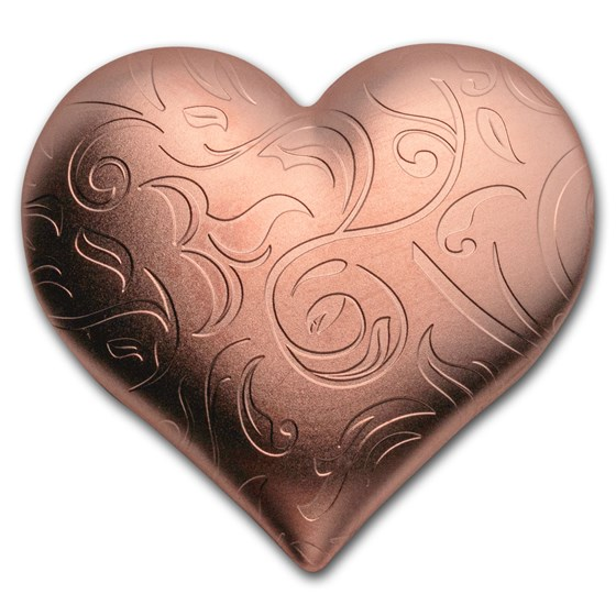 2021 Palau 1 oz Silver Gold Gilded Heart Shaped Coin