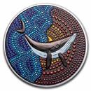 2021 Palau 3 oz Silver Proof Dot Art: The Whale