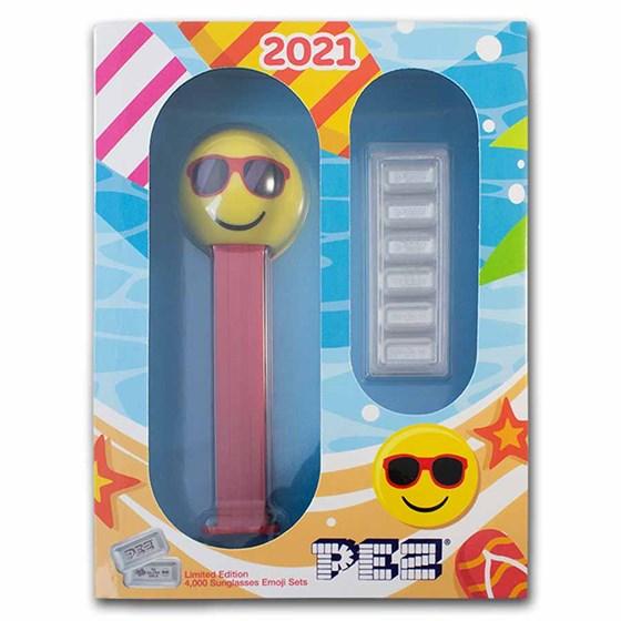 2021 PEZ® Gift Set w/Sunglasses Emoji Dispenser & 6x 5g Ag Wafers
