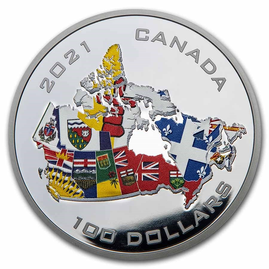 2021 RCM 10 oz Ag $100 Canada's Provincial and Territorial Flags