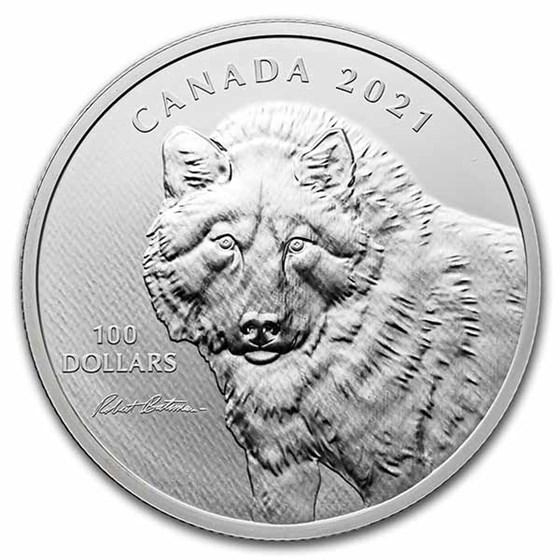 2021 RCM 10 oz Silver $100 Robert Bateman Wolf Sketch