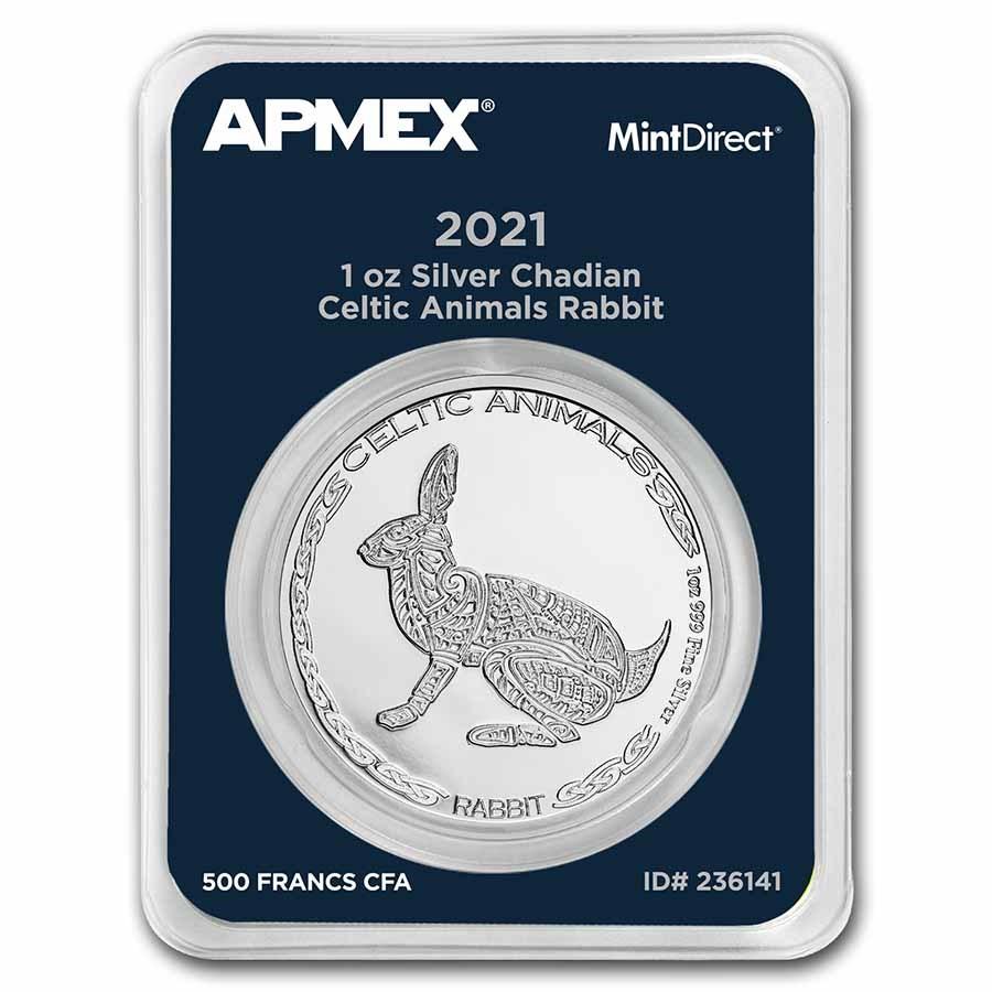2021 Rep. of Chad 1 oz Silver Celtic Animals Rabbit (MD® Single)