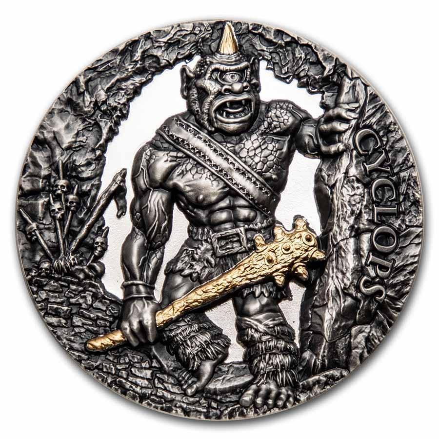 2021 Republic of Cameroon 2 oz Antique Silver Cyclops