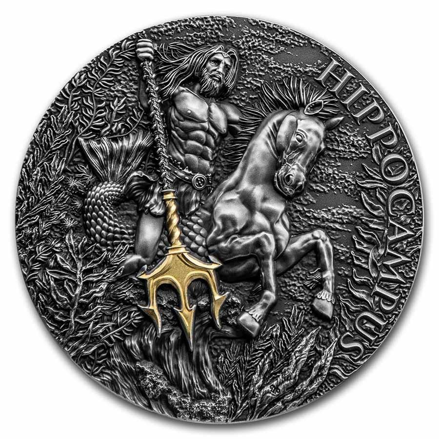 2021 Republic of Cameroon 2 oz Antique Silver Hippocampus