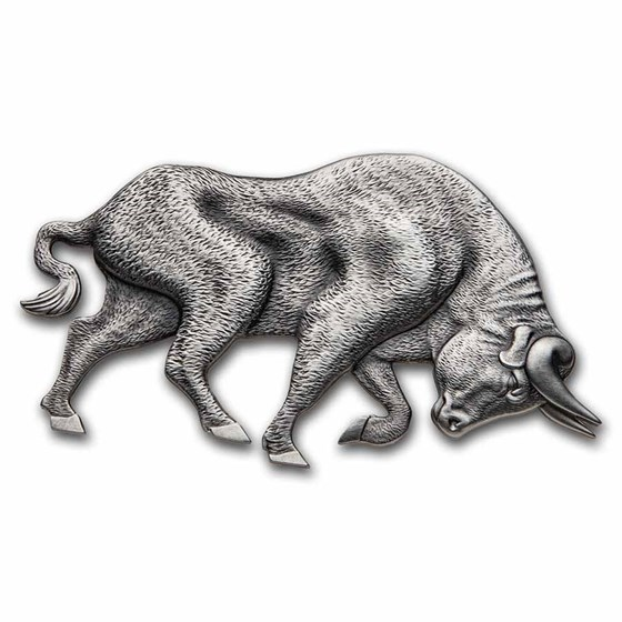 2021 Republic of Chad 1 oz Antique Silver Bull Shaped Coin