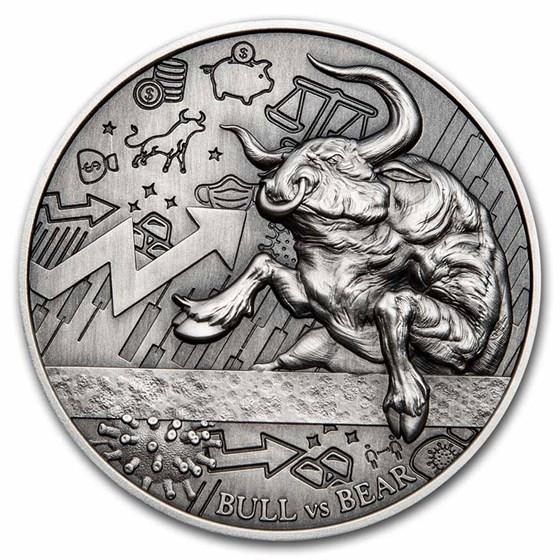 2021 Republic of Chad 2 oz Antique Silver Bull vs Bear Pandemic