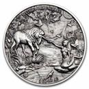 2021 Republic of Chad 2 oz Antique Silver Mermaid & Unicorn