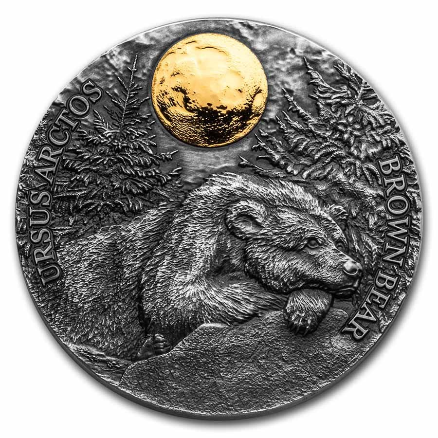 2021 Republic of Ghana 1/2 oz Silver Brown Bear