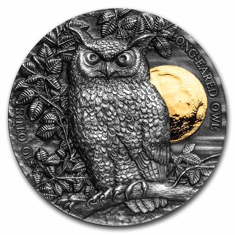 2021 Republic of Ghana 1/2 oz Silver Long-Eared Owl