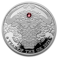 2021 Republic of Ghana 1/2 oz Silver Year of the Ox Proof