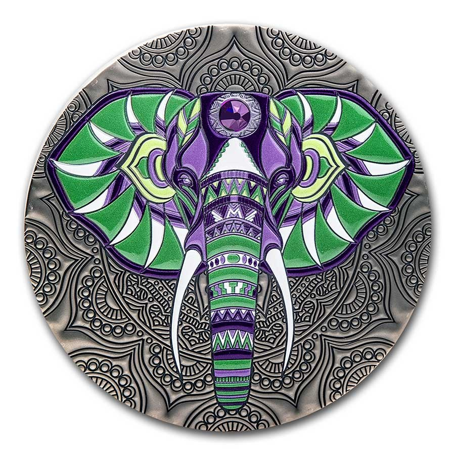 2021 Republic of Ghana 1 kilo Silver Mandala Collection: Elephant